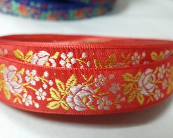"""3/4"""" Vintage French Red Jacquard woven ribbon trim with embroidered silver white florals   #500-18"""