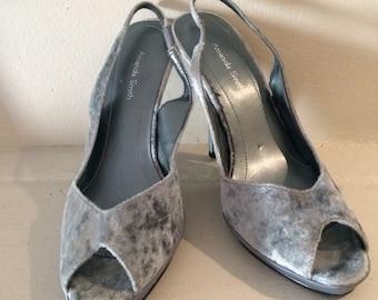 Amanda Smith Powder Blue Velvet Sling Back Heel 7M