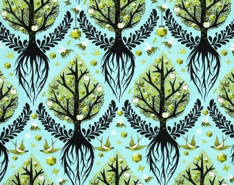 LAMINATED cotton fabric by the yard - Tree of Life pool yardage Birds and Bees - WIDE - BPA free - Approved for children's products
