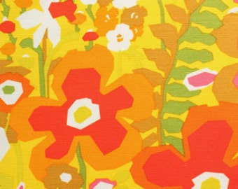 LAMINATED cotton fabric by the yard - Keely citrus floral yardage (aka oilcloth coated vinyl fabric ) - Alexander Henry