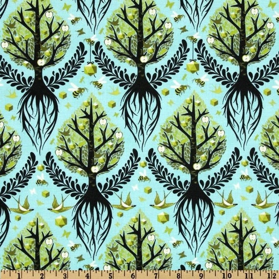 LAMINATED cotton fabric by the yard - Tree of Life pool yardage Birds and Bees (aka oilcloth, coated fabric) Tula Pink - WIDE bpa free