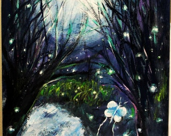 Enchanted fairy forest night for Fairy forest mural
