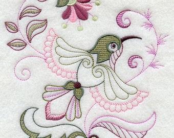 Vintage Jacobean Hummingbird Embroidered Flour Sack Hand/Dish Towel