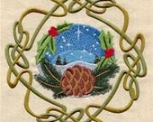 Celtic Wheel of the Year - Yule Embroidered Flour Sack Hand/Dish Towel