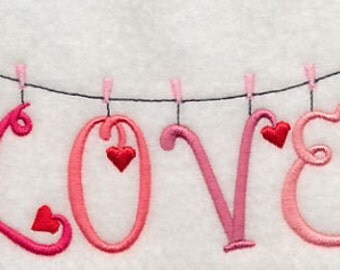 Love Clothesline Embroidered Flour Sack Hand/DIsh Towel
