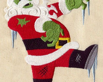 Zombie Santa Embroidered Flour Sack Hand/Dish Towel