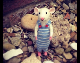 Needle Felted Seaside Mouse Sculpture