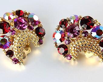 Red Pink Rhinestone Earrings, Lisner Earrings, Crescent aurora borealis Vintage jewelry