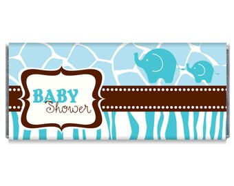 Blue Elephant Boy Baby Shower Candy Bar Wrapper Favors