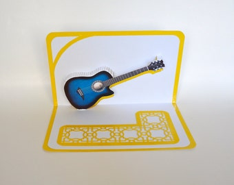 Blue ACOUSTIC GUITAR 3D Pop Up Card ORIGINAL Design American Idol Music Lovers Handmade in White and Metallic Shimmery Yellow OOaK