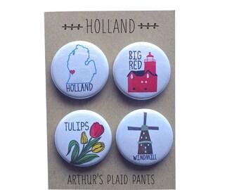 Holland magnet, Holland Michigan, Holland Michigan badges, Holland magnet set