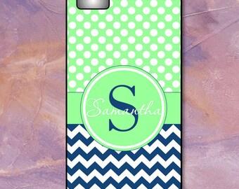 Monogram Phone Case iPhone 6 - iPhone 7/7 Plus -6/6S -5C Case - Blue Chevron & White Dots on Mint Green - Plastic, Rubber, Tough Case