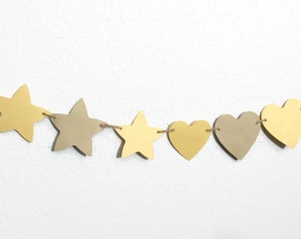 Hearts and Stars, Yellow Star Banner, Brown Heart Bunting, Paper Hearts and Stars, Beach Party Streamer, Sunshine and Sand, Yellow and Tan