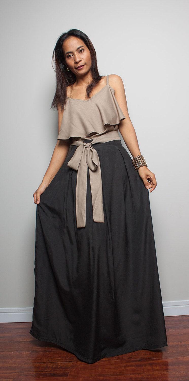 black skirt floor length maxi skirt feel