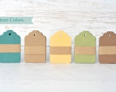 Natural mini gift tags with scalloped top. Earth collection hang tags for gift embellishment in more colors