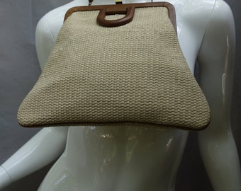 60s Roger Van S trapezoid Fabric and Leather Purse