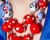 Red Polka Dot Large Bead Necklace