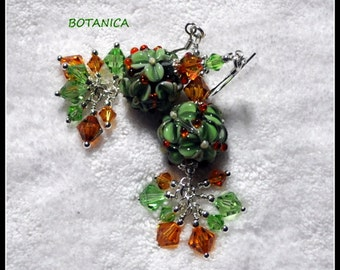 Green Earrings,Lampwork Earrings,Green and Topaz Earrings,Green Floral Earrings, Fall Earring - BOTANICA