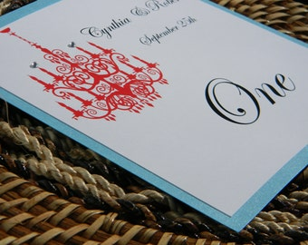 Chandelier Table Number or Name with Chandelier and Crystals in Aqua and Apple Red