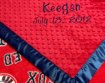 Personalized Boston Red Sox Baseball Fleece and Minky Blanket.