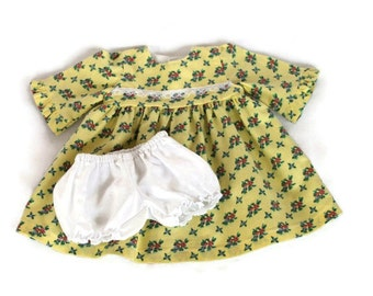 Doll Dress & Panties Yellow Calico Pink Blue White Lace Prairie Floral Bitty Twin Baby 14 to 16 inch Baby Doll --US Shipping Included