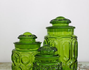 Vintage L.E. Smith Moon and Star glass canister set