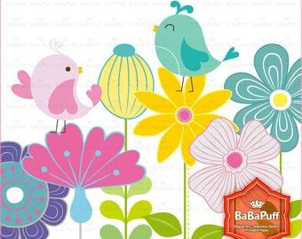 14 Flowers and 2 Birds Clip Art. BP 0905