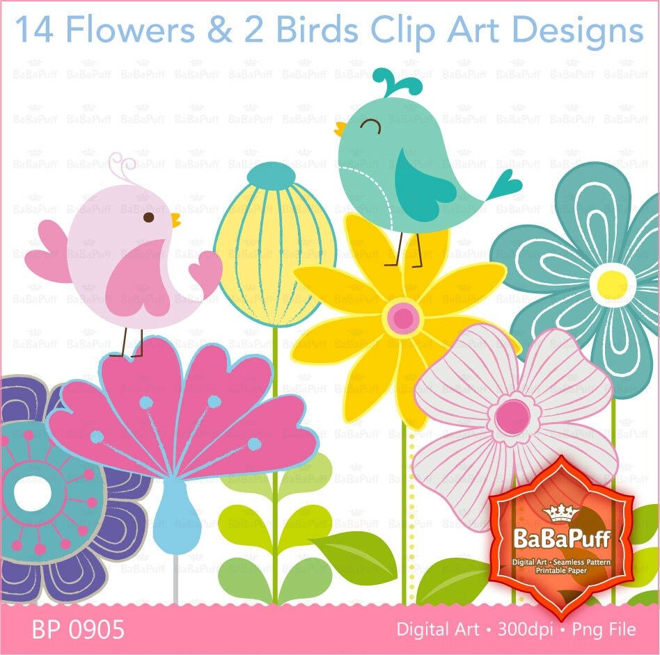 clipart flowers and birds - photo #19
