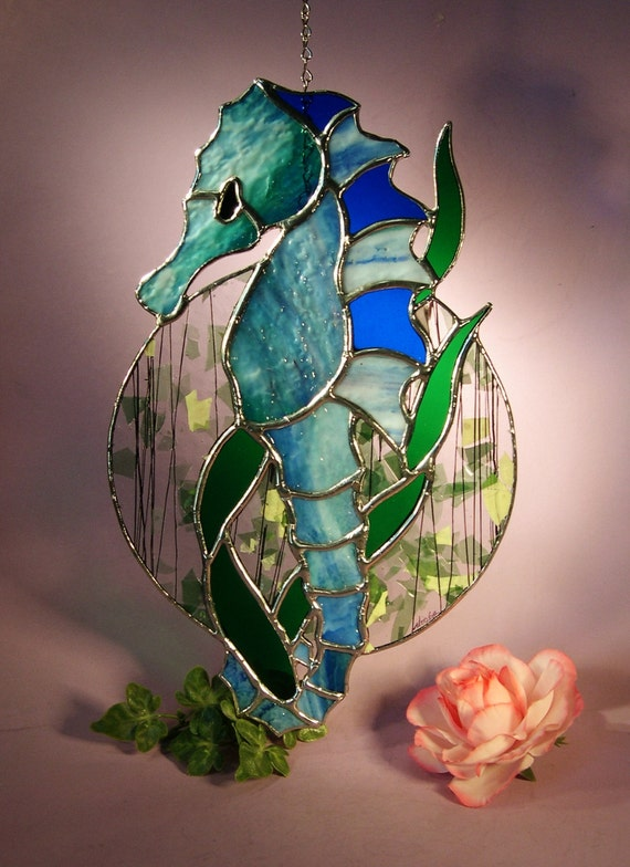 Stained Glass Suncatcher Sea Horse Hanging On Sea Leafs