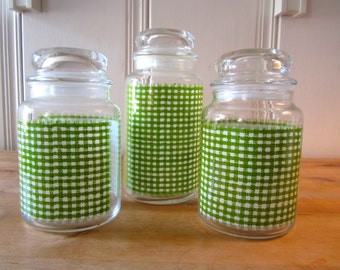 A Trio of Apple Green Gingham Jars with Lids