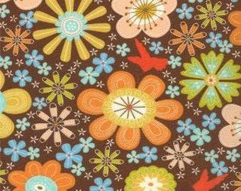 SALE - Wren Friends - Chestnut Brown Floral by Gina Martin from Moda