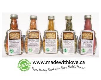 Edible Rainbow - Five Artisan Spice Blends - Organic Dip Mix - Salad Dressing Mix - BBQ Grill Rub - Pasta Sauce Mix Herb Spice Real Food DIY