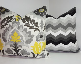 OUTDOOR Pillow Set Bright Colorful Waverly Floral & Chevron Black/Yellow Pillow Covers