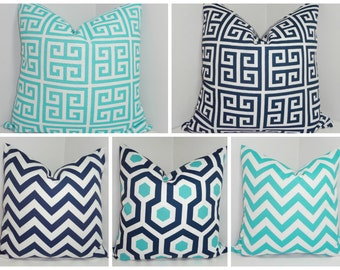 OUTDOOR Pillow Covers Geometric Chevron Greek Key AquaBlue/Navy  Deck Patio Pillow Covers 20x20