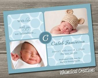 Baby Boy Birth Announcement (Digital File) Zachary - I Design, You Print