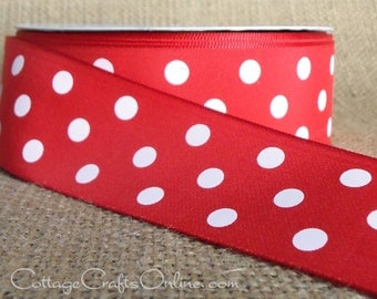 """Polka Dot Ribbon, 1 1/2"""" wide, Red with White Polka Dots - THREE YARDS - Offray """"Eloise""""  Summer, Christmas, Valentine Ribbon, Sewing Trim"""