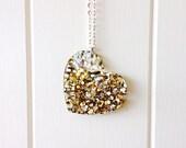 Lush Glitter Heart Pendant Necklace