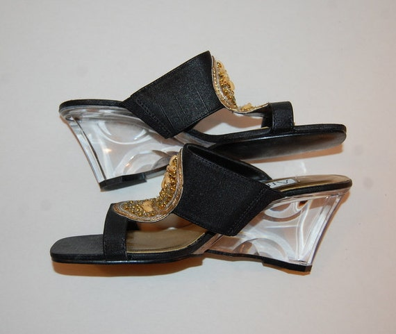 lucite wedge heel shoes size 5 slip on gold by