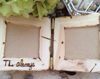 True Love Always Hinged Small Frames Personalized with Initials Custom Frame Wedding Boyfriend Girlfriend or Special Friend