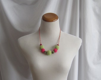 Crochet Covered Bead Necklace - Green and Hot Pink