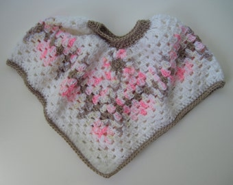 Baby Poncho Sweater - Crochet in White, Taupe and Pink with a Hint of Yellow with Flower Applique - 6 to 12 Months