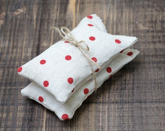 Set of 2 Lavender Sachets Coffee Sachets Aromatherapy Zen Nature Life Eco Friendly Red Polka Dots Scented Sachets, Aromatherapy, ohtteam