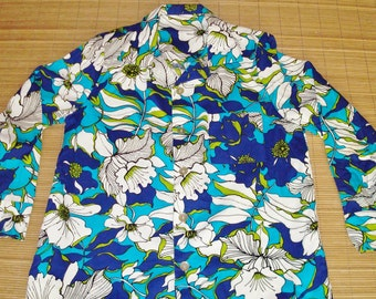 Mens Vintage 60s Barkcloth Rockabilly Mod Floral LS Shirt - S - The Hana Shirt Co