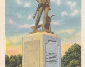 Concord, Massachusetts, The Minute Man - Linen Postcard - Unused (O)