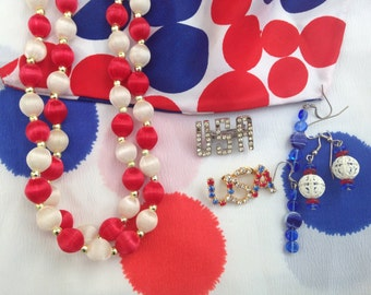 Patriotic Collection - Vintage Rhinestone USA Pins, Scarves, Necklace, Earrings