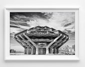 """UCSD Architecture Photograph Unframed / black and white library teacher graduation san diego college / photography print / """"Geisel Library"""""""