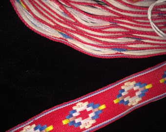 Vintage-Red Geometric Trim,Vintage Edging