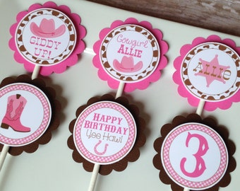 Cowgirl Birthday Party Personalized Cupcake Toppers Pink and Brown - Party Decorations - Party Supplies - Custom Cupcake Toppers - Set of 12