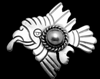 Vintage 1930s Taxco 980 Silver Mexico Mexican Flying Bird Pin Brooch 19312