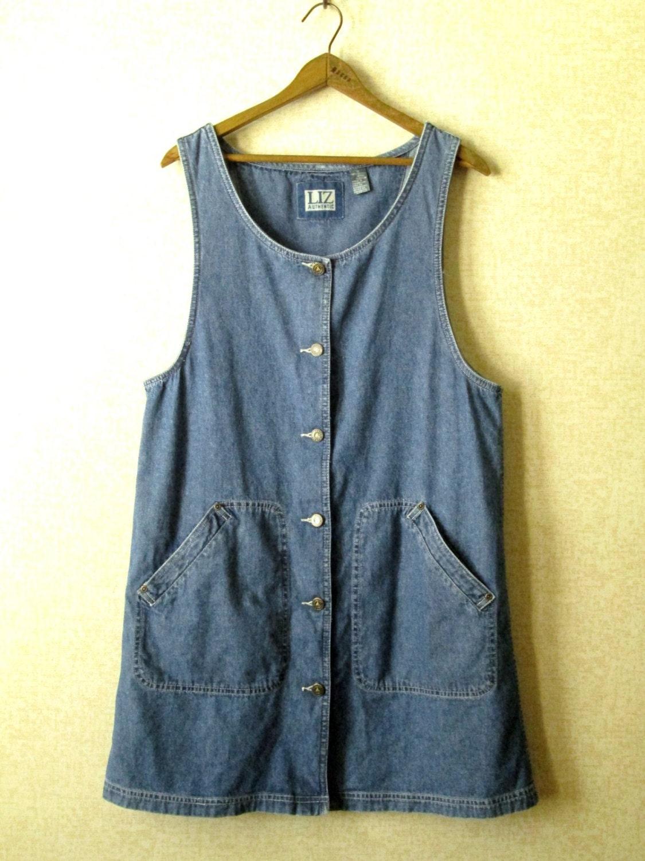 Overall Jumper denim dress vintage 80s 90s jean by MySoftParade